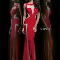Bateau Neckline Bodice Sherri Hill Formal Prom Dress 4313