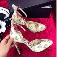 Gucci Lady's printed High Heel Sandals Shoes