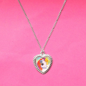 My Little Pony Necklace, Cabochon Setting Necklace, Silver Heart Necklace