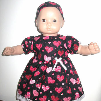 Doll Clothes for Bitty Baby or Bitty Twin Baby Doll, Black with Pink Glitter Lots of Hearts Dress