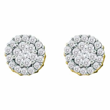 14kt Yellow Gold Women's Round Diamond Flower Cluster Screwback Earrings 3-4 Cttw - FREE Shipping (USA/CAN)