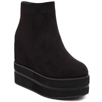 Black Flock Design Ankle Boots With Platform