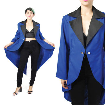 80s Long Tails Tuxedo Jacket Cobalt Blue Blazer Magicians Coat Steampunk Jacket Vintage Costume Fishtail High Low Hem Womens Long Blazer (M)