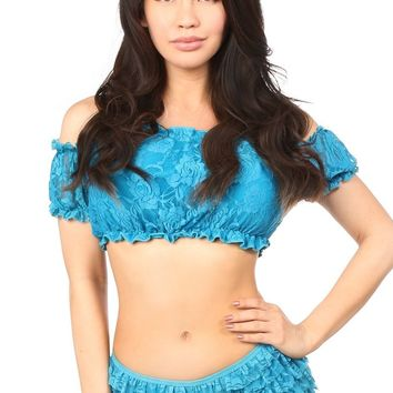 Daisy Corsets Teal Lined Lace Short Sleeve Peasant Top