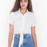 Poplin Mid-Length Tie-Up Blouse | American Apparel