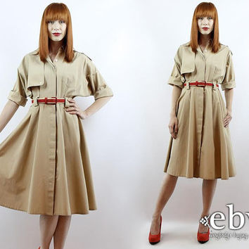 Vintage 80s Khaki Day Dress S M Minimalist Dress Secretary Dress Work Dress Khaki Dress Beige Dress Midi Dress Safari Dress