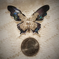 Large Napier Silver Tone Large Butterfly Brooch Pin With Blue and Amethyst Tone Enamel - Napier Brooches - C Code 2BEBBUY 20 PCT 20.00 Min