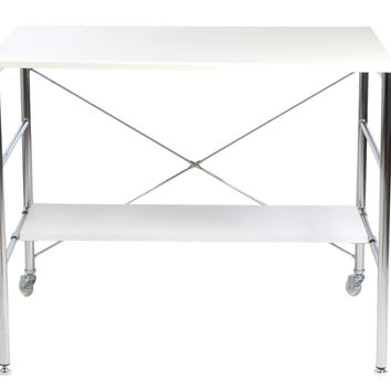 Ida Rolling Desk in High Gloss White with Chrome Base