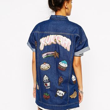 Kuccia Short Sleeve Longline Denim Jacket With Kawaii Logo Sequin Patches