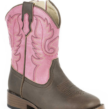 Roper Infant Western Sqtoe Faux Leathr Sole Boots Brown Pink Faux Leather