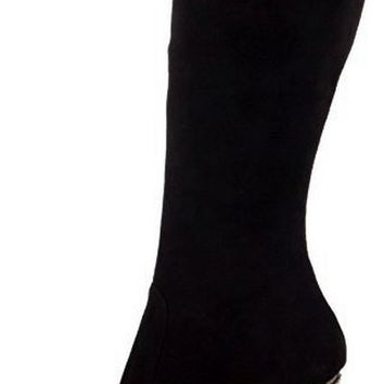 "Fantasia 2010 Black Suede Rhinestone Boot 6"" Stiletto Dual Stacked Platform"