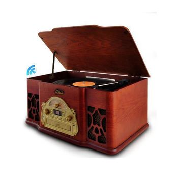 Bluetooth Vintage Classic-Style Turntable Speaker System with Vinyl-to-MP3 Recording, CD Player, MP3/USB Reader, AM/FM Radio