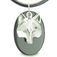 Amulet Protection Wise Wolf Mask Spiritual Powers Black Agate Leather Pendant Necklace