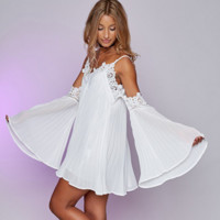 V-Neck Solid Color Lace Stitching Strapless Long Sleeve Strap Mini Dress