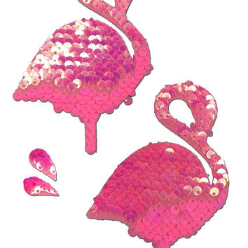 Pasties - Hot Pink & Matte Pink Color Changing Sequin Flamingo Nipple Pasties with Flamingo Tears by Pastease® o/s