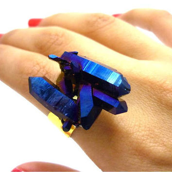 Druzy Titanium Quartz Cobalt Blue Rainbow Aura Crystal Ring by AstralEYE