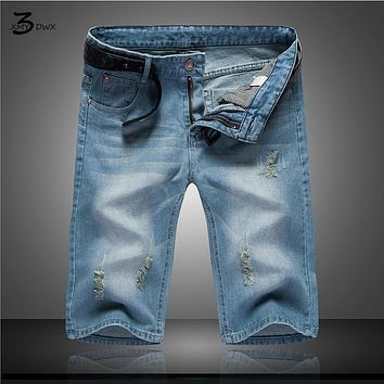 XMY3DWX New High Quality Cotton Fashion Casual Slim Straight Hole Ripped Short Jeans For Men,Denim Summer Short Men Jeans