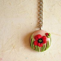 Poppy  Necklace, Polymer clay round  0.71 inches pendant