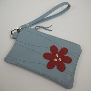 Small Leather Wristlet, Repurposed Leather Wristlet, Small iPhone Wallet, Blue Leather Wristlet with Red Flower Detail, Ready to Ship