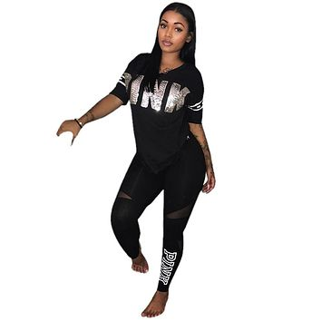 5 COLORS Fashion sexy women casual letter patchwork two pieces suits casual nightclub party tracksuit S3264 S-3XL