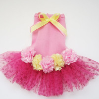 Dog dress tutu pink and yellow with satin flowers
