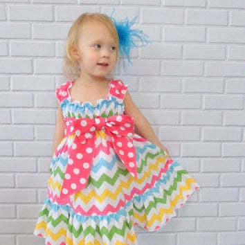 Girls Chevron Dress Easter Dress Spring Dress Valentines Day Dress Pink Blue Green Boutique Clothing By Lucky Lizzy's
