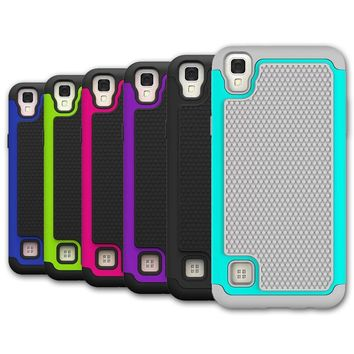 FORLG Tribute HD LS676 / X Style Phone Case Rugged Armor Hybrid Dual Layer Shockproof Protective Cover