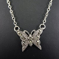 Sterling Silver and Marcasite Gemstones Butterfly Pendant, Sterling Silver Chain, Signed 925, Figural Butterfly Necklace Vintage 1980s 1990s