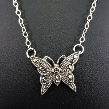 Sterling Silver and Marcasite Gemstones Butterfly Pendant 2c9cb29c4c39