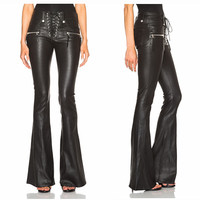 Punk  Lace Front Flare  Vegan Leather Pants