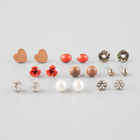 Full Tilt 9 Pairs Wood/Coral Earrings Coral One Size For Women 25146031301