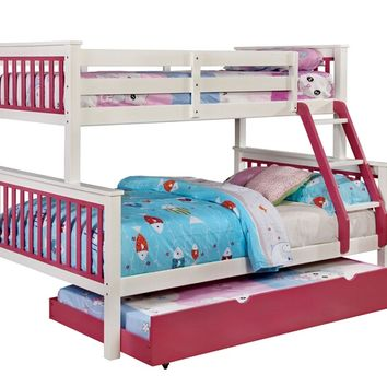Corrin collection Twin over Full pink and white finish wood bunk bed with twin trundle pull out