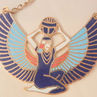 Isis Egyptian goddess of magic and life cloisonne large beautiful Necklace