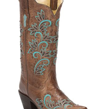 Corral Women's Brown with Turquoise Floral Inlay & Studs Snip Toe Western Boots