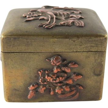 Antique Japanese Mixed Metal Pill Box