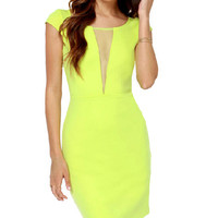 Short Sleeve Mesh Back Bodycon Dress
