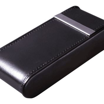 Visol Montana Glossy Black Leather Crushproof Fliptop Cigar Case