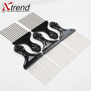 Free shipping Professional Black hair dressing combs plastic& steel Barber hair cut comb Hair Care Styling Tools top quality