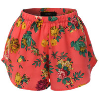 LE3NO Womens Lightweight  Floral Print Loose Beach Short