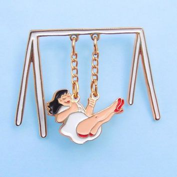 Swinging Around Enamel Pin - The chain actually swings!