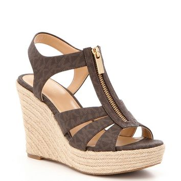 MICHAEL Michael Kors Berkley MK Logo Zip Up Espadrille Wedges | Dillards