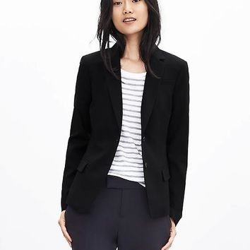Banana Republic Womens Black Lightweight Wool Two Button Suit Blazer