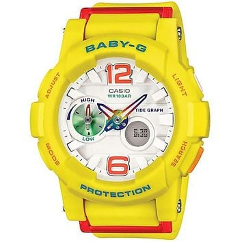 Casio Ladies Baby-G - Analog / Digital - Tide Graph Feature - Yellow Resin Strap