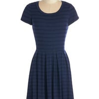 ModCloth Mid-length A-line Today We Stripe Dress in Navy