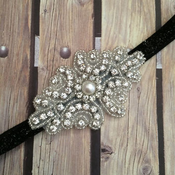 Rhinestone headband, black headband, flower girl headband, wedding headband, dressy headband, formal headband, halo, baby headband,