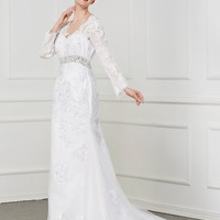 C.V Sexy Backless Vintage Mermaid Wedding Dresses With Sash Crystal And Pearls Beads Long Sleeve Plus Size Bridal Dress W0162