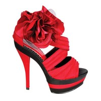 Strappy High Heel Dress Sandals Flower Red – CuteClubOutfits
