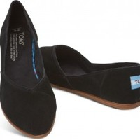 TOMS Shoes Black Suede Women's Jutti Flats,