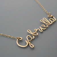 Gold Filled Name Necklace with a Tiny Heart - personalized cursive wire word with delicate chain, new mom jewelry