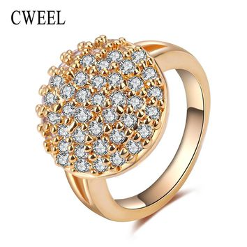 CWEEL Vintage Wedding Bridal Rings For Women Gold/Silver Color Unique Imitation Crystal Jewelry Engagement Party Accessories